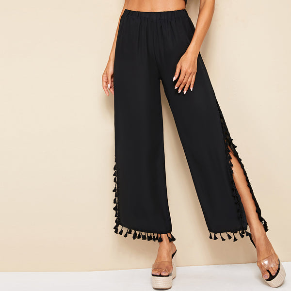 Fringe Trim Slit Hem Wide Leg Pants freeshipping - PuaGme