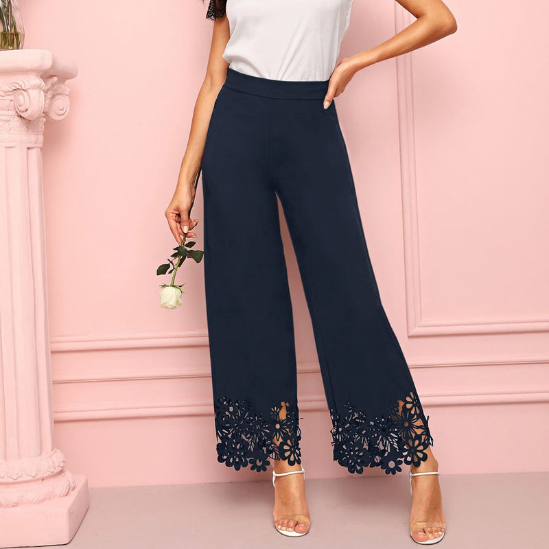 Floral Hollow Out Wide Leg Solid Pants