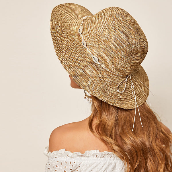 Shell Decor Straw Hat