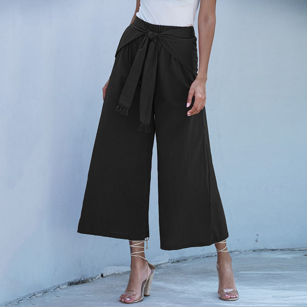 Fringe Detail Belted Wide Leg Pants freeshipping - PuaGme