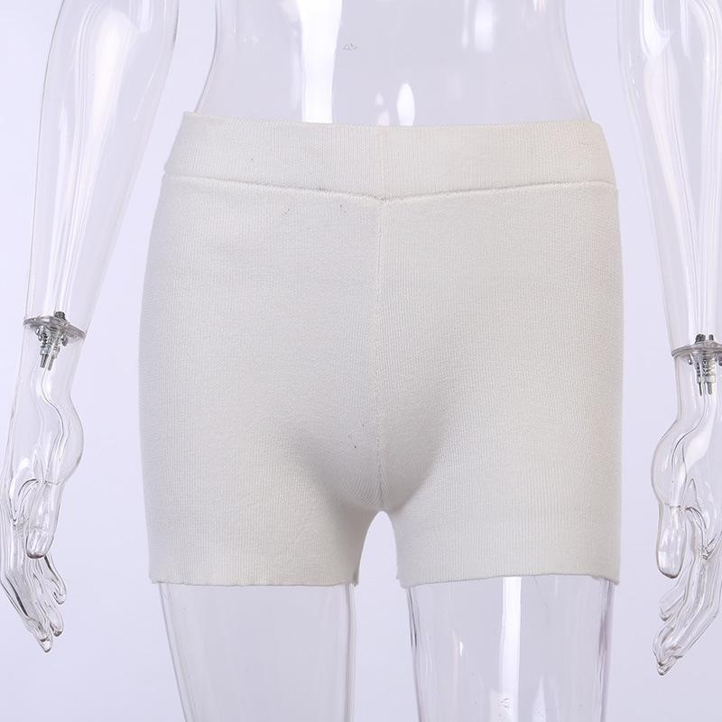 White Black High Waist Women Knitted Biker Bodycon Shorts