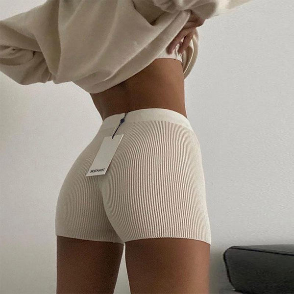 White Black High Waist Women Knitted Biker Bodycon Shorts freeshipping - PuaGme