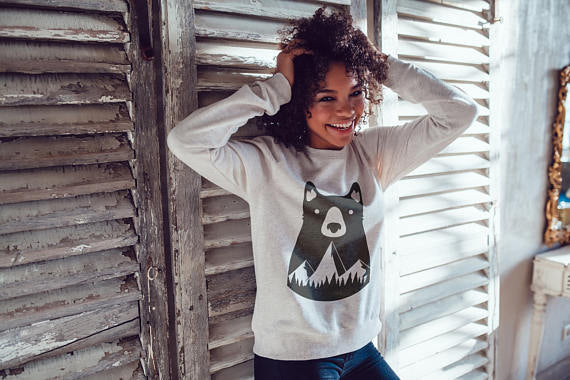Mountains Bear Sweatshirt Women Sweatshirt Woman