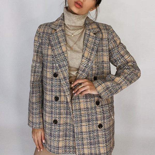 Elegant autumn winter plaid women blazer coat Causal long sleeve tweed