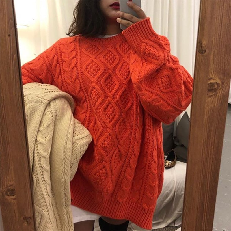 Casual Ladies Oversized Sweater Loose Knit
