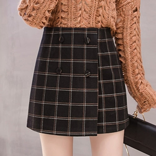 Winter Plaid A Line Japanese Mini