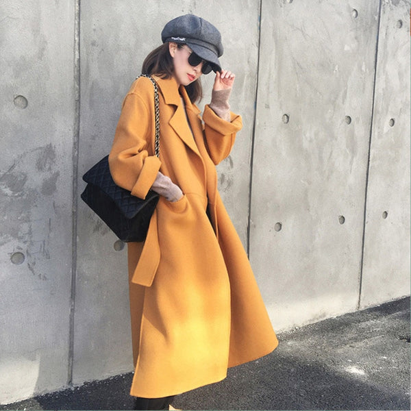 Women Long Wool Coat Winter Warm