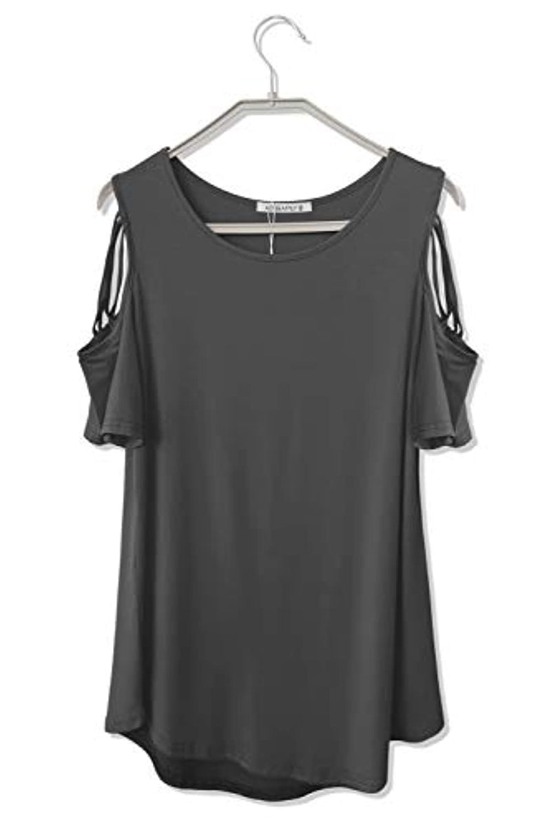 Adreamly Womens Loose Strappy Cold Shoulder Tops Basic T Shirts