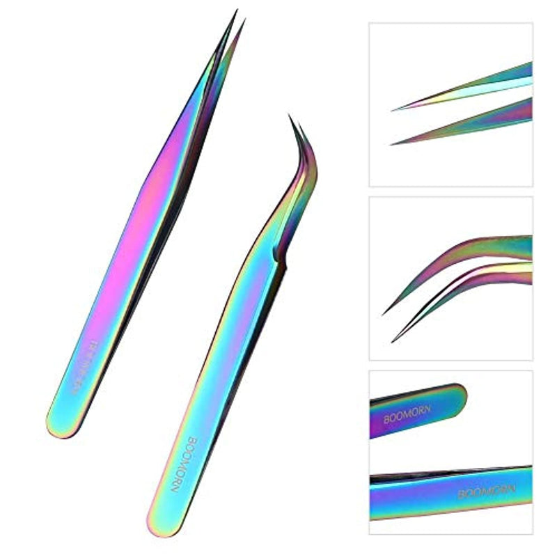 BOOMORN Eyelash Extension Tweezers Straight Curved Rainbow Precision False Tweezers Set Stainless Steel Nail Art Sticker Rhinestone Eyelash Picker Acrylic Gel Nail DIY Art Tools 2PCS