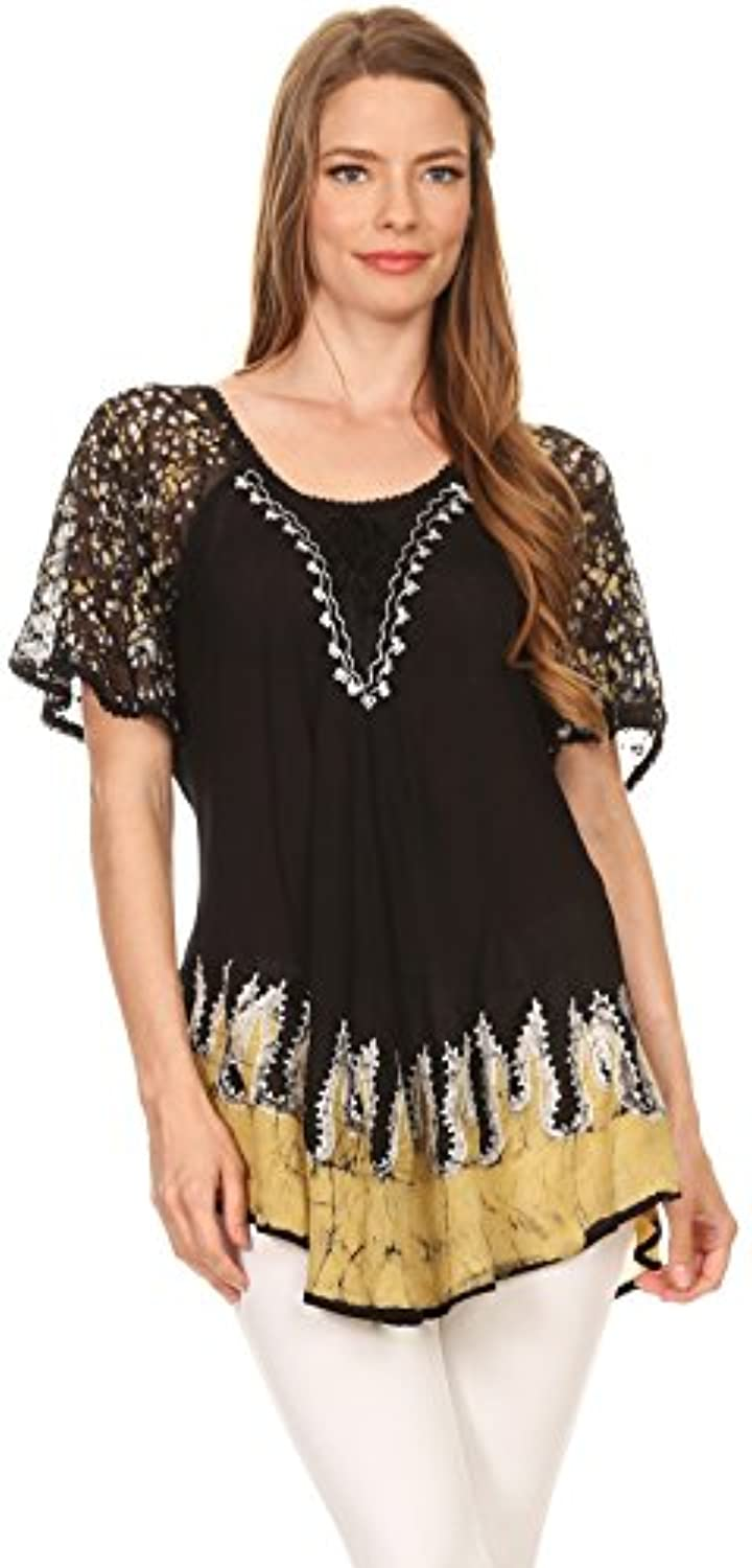 Sakkas Cora Relaxed Fit Batik Design Embroidery Cap Sleeves Blouse/Top freeshipping - PuaGme