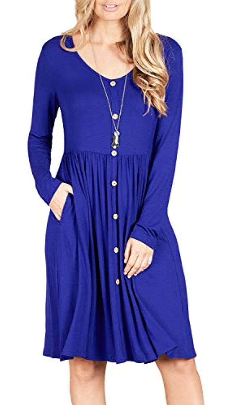 GRECERELLE Women's Long Sleeve Button Casual Plain Swing Dresses Wasp Down A-Line Dress with Pockets