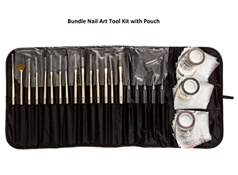 Beaute Galleria Bundle 50 Pieces Nail Art Tool Kit with Pouch - 5 Pieces Dotting Tool Marbleizing Pen (10 Sizes), 15 Pieces Acrylic Gel Detailing Painting Brushes Liners, 30 Pieces Striping Tapes
