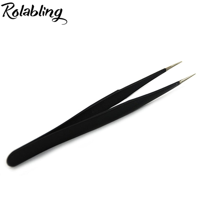 Rolabling 2pcs Elbow & Straight Black Nail Tweezers Rhinestone Picker Manicure Nail Art Tool (Set-1)