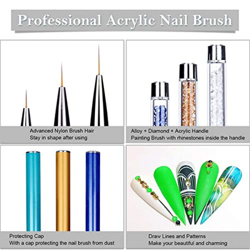 Makartt 3Pcs Nail Art Liner Brush Acrylic Nail Brush Gel Nail Painting Brush Pen Set Metal Diamond Acrylic Handle, Q-09