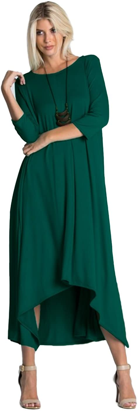 Tabeez Women's Long Loose Casual Asymmetrical Oversize Handkerchief Hem Jersey Maxi Dress (Made in The USA)