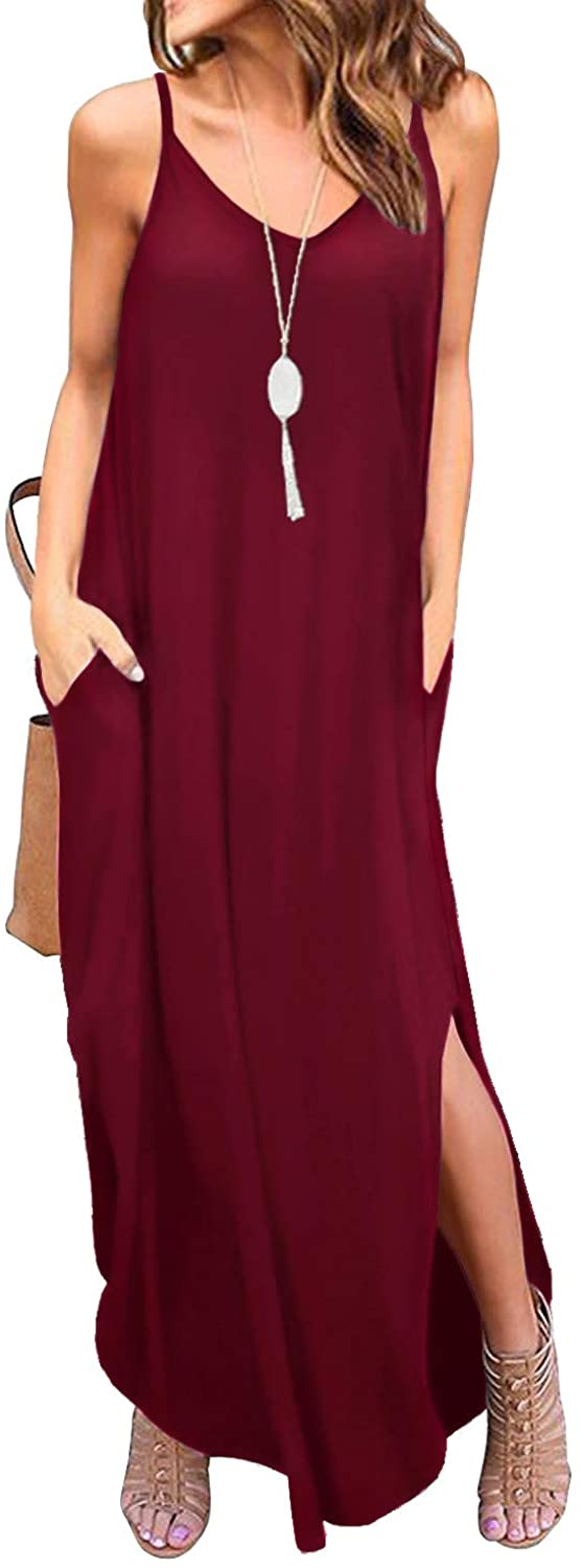 GRECERELLE Women's Summer Casual Loose Dress Beach Cover Up Long Cami Maxi Dresses with Pocket