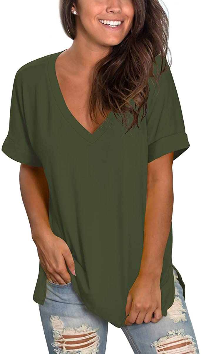 SAMPEEL Women's V Neck T Shirt Rolled Sleeve Side Split Tunic Tops