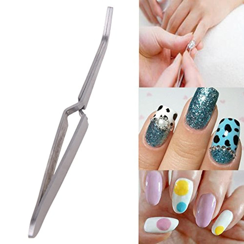 Yimart 1pcs Nail Professional Tools Multi-Function Nail Art Rhinestones Decoration Picking Clip Nipper Stainless Steel Tweezers