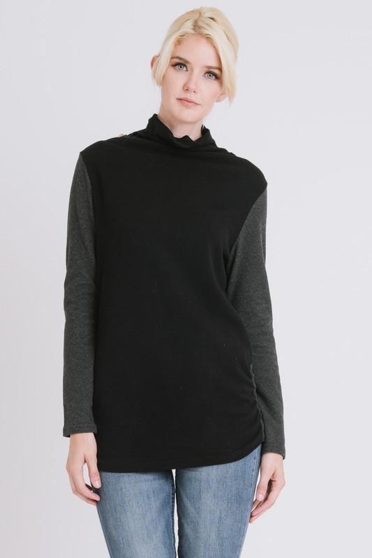 CONTRAST COWL NECK SWEATER freeshipping - PuaGme