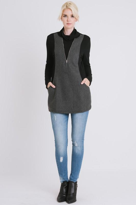 COWL NECK SWEATER WITH ZIPPER freeshipping - PuaGme