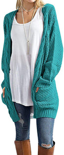 GRECERELLE Women's Loose Open Front Long Sleeve Solid Color Knit Cardigans Sweater Blouses with Packets