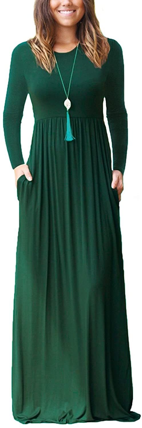 GRECERELLE Women's Long Sleeve Loose Plain Maxi Dresses Casual Long Dresses Wite Pockets freeshipping - PuaGme