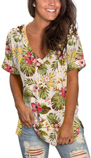 SAMPEEL Women's V Neck T Shirt Rolled Sleeve Side Split Tunic Tops freeshipping - PuaGme