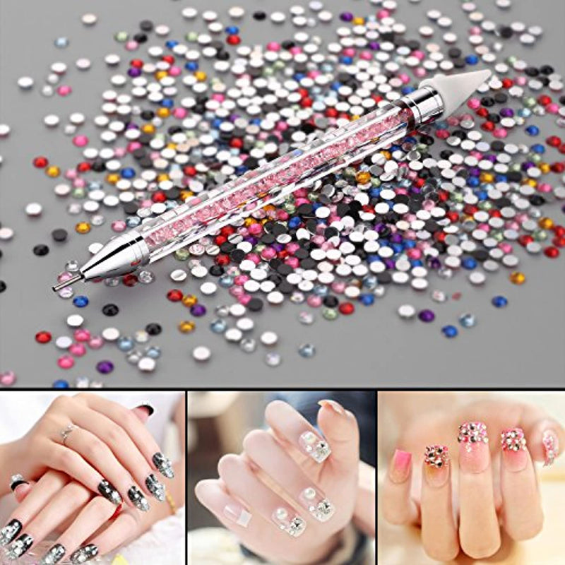 Makartt Dual -ended Nail Rhinestone Picker Beads Picker Dotting Pen Wax Pen With acrylic Handle Manicure Nail Art Tool-Pink freeshipping - PuaGme
