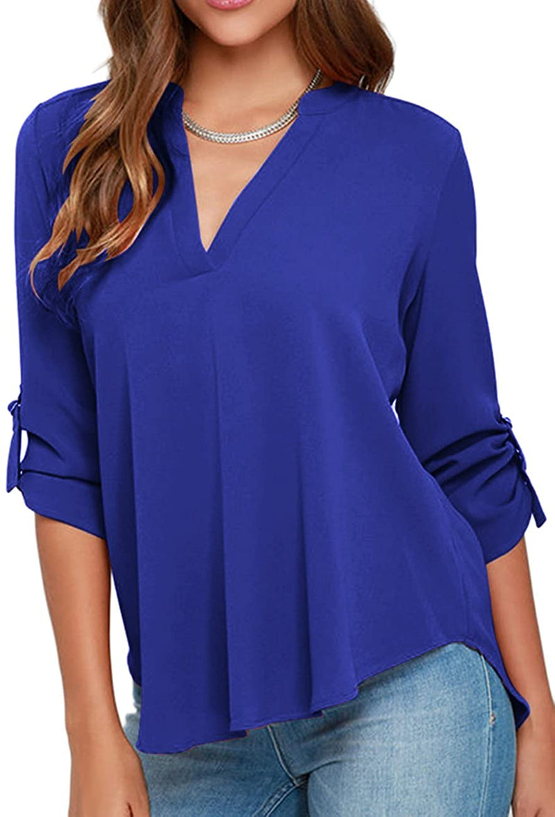 OMZIN Women's Chiffon Blouses Solid Loose Shirt Casual Pullover Tops freeshipping - PuaGme