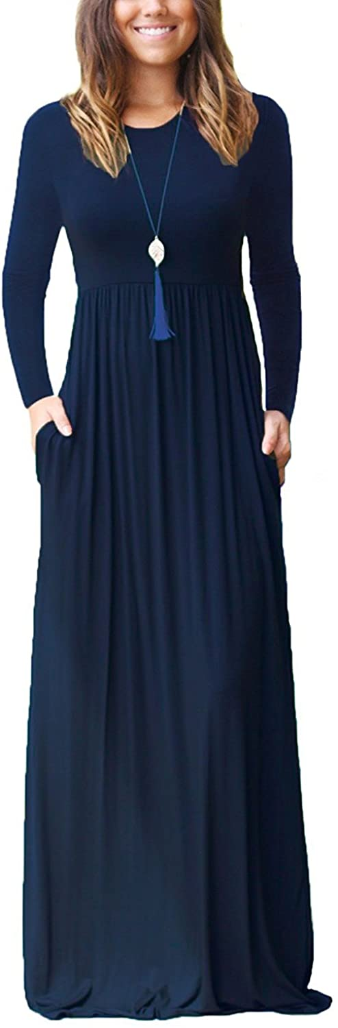 GRECERELLE Women's Long Sleeve Loose Plain Maxi Dresses Casual Long Dresses Wite Pockets