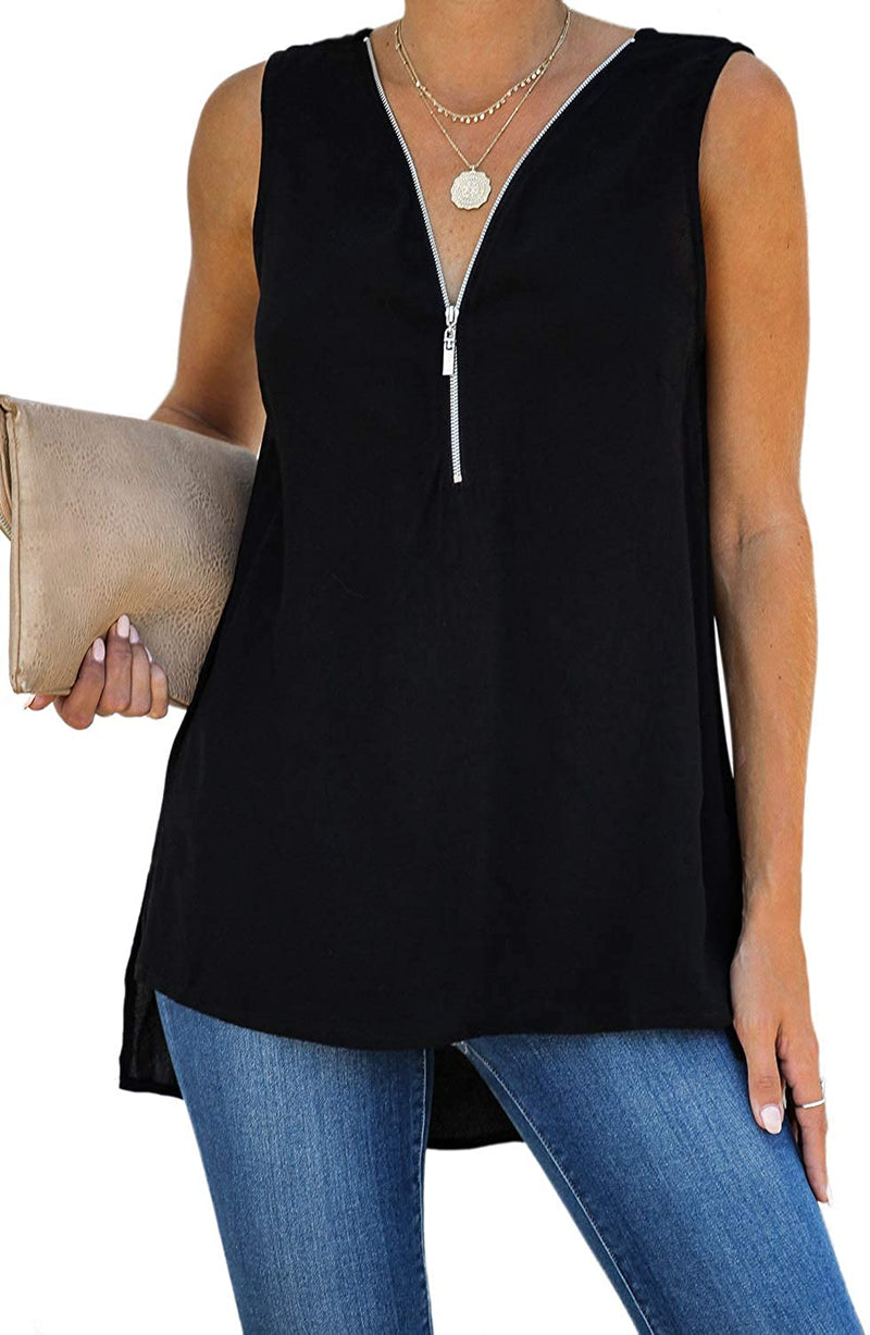 ZKESS Womens Casual Sleeveless V Neck Cuffed Pleated Zip Up Chiffon Blouse Shirts