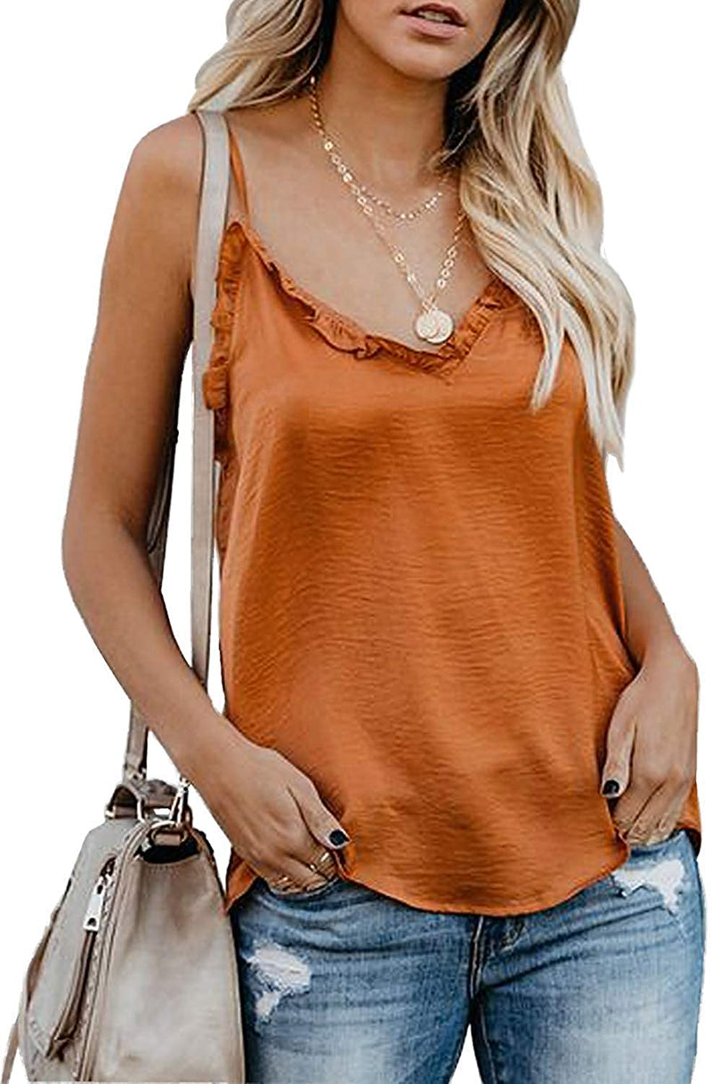 Tiksawon Women's Summer V Neck Strappy Cami Tank Tops Casual Loose Sleeveless Shirts Blouses