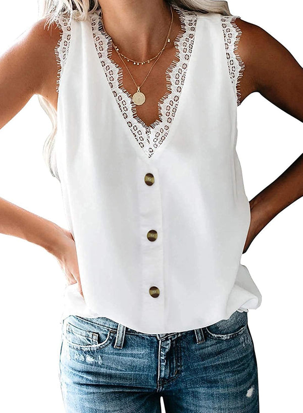 Uusollecy Women's V Neck Lace Trim Tank Tops Casual Loose Sleeveless Blouse Shirts freeshipping - PuaGme