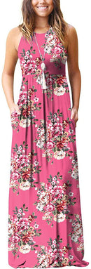 GRECERELLE Women's Summer Sleeveless Racerback Loose Plain Maxi Dress Floral Print Casual Long Dresses with Pockets