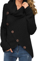 GRECERELLE Women's Casual Turtle Cowl Neck Asymmetric Hem Wrap Pullover Chunky Button Knit Sweater