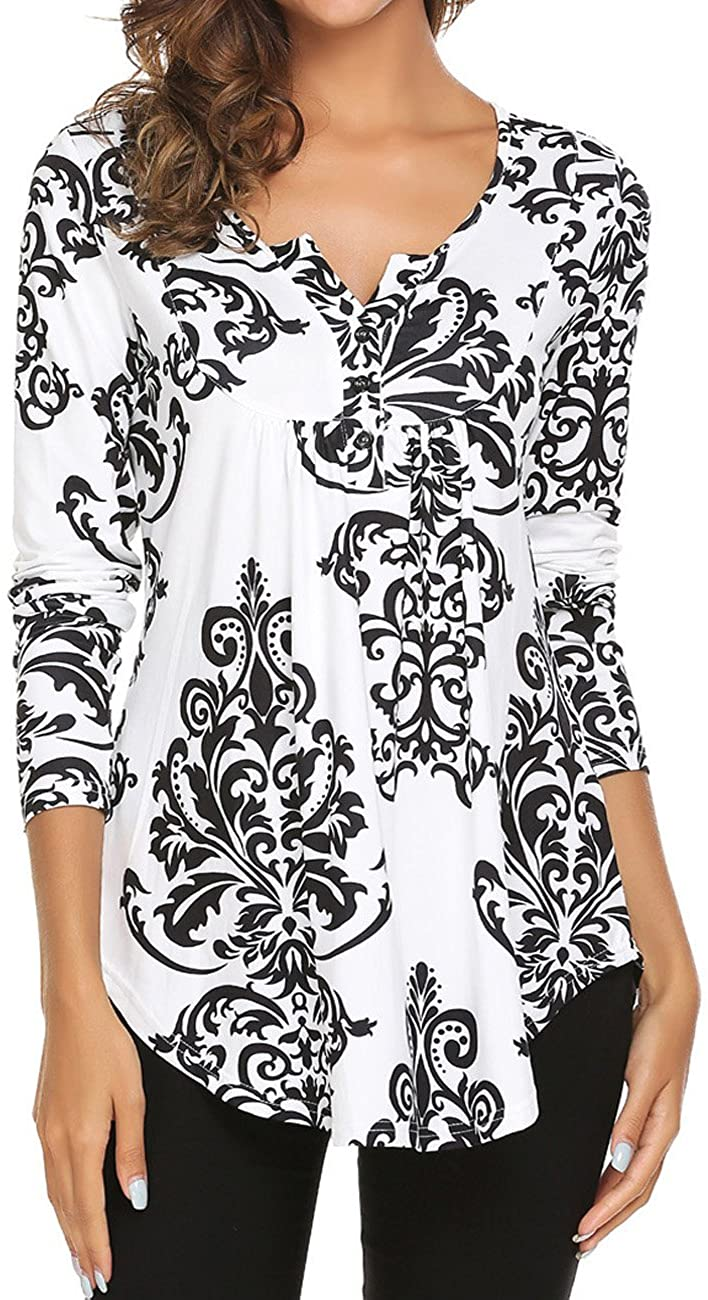 Women's Paisley Printed Long Sleeve Henley V Neck Pleated Casual Flare Tunic Blouse Shirt freeshipping - PuaGme