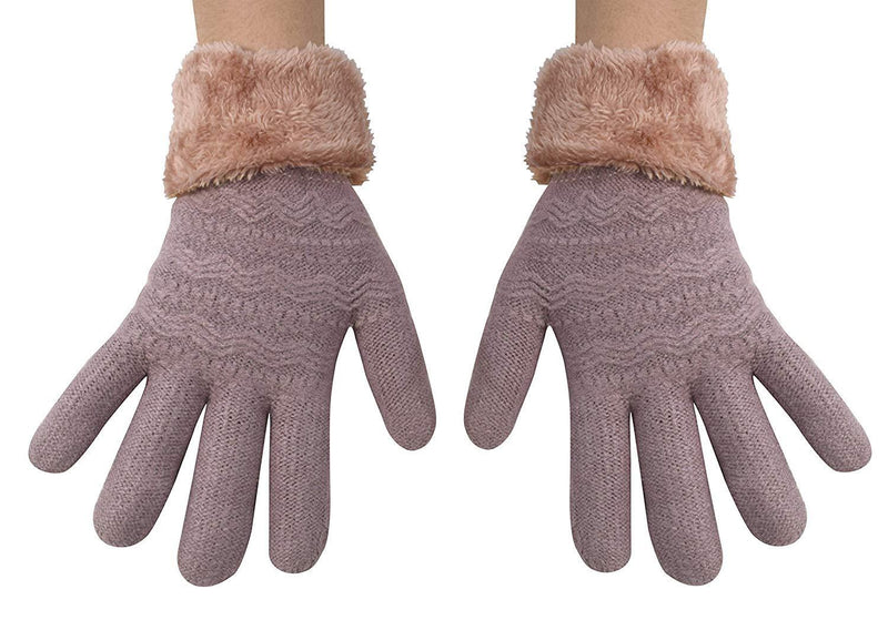 Classic Cable Knit Plush Fleece Lined Double Layer Winter Gloves Mauve