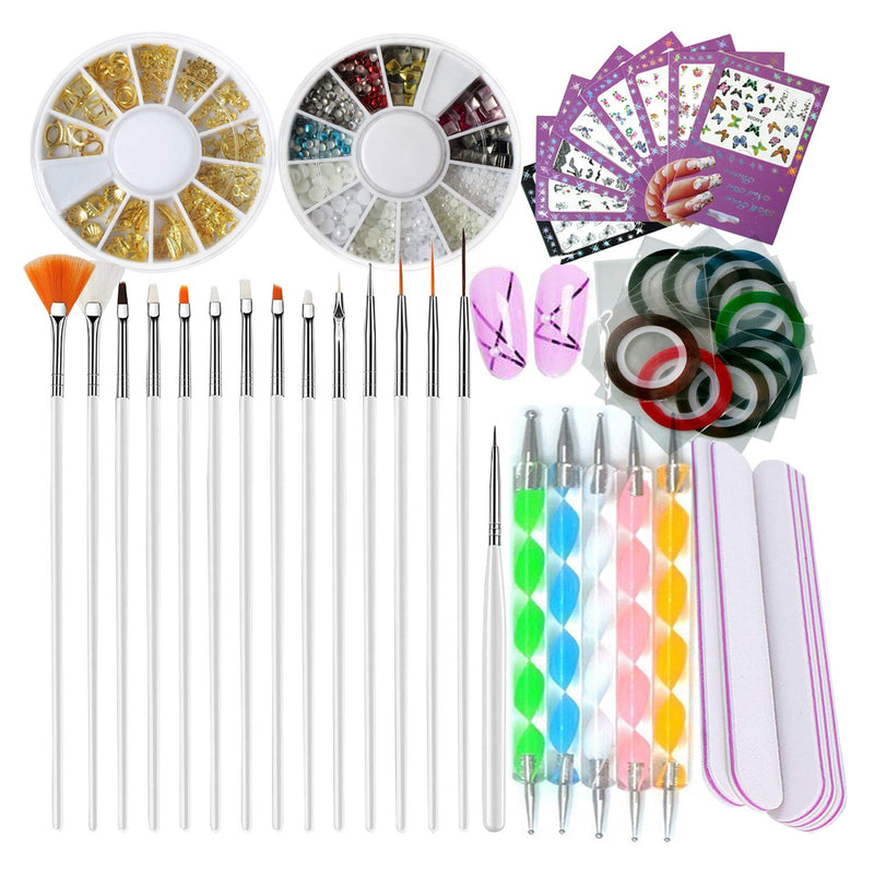 Nail Art Tools Manicure Kit 15PCS Nail Painting Brush 5PCS Nail Dotting Pen 2 Boxes Nails Rhinestones Decoration 8PCS Sticker Decal 10PCS Striping Tape 5PC Nail Files 1PC Stick Pusher Pedicure Set freeshipping - PuaGme