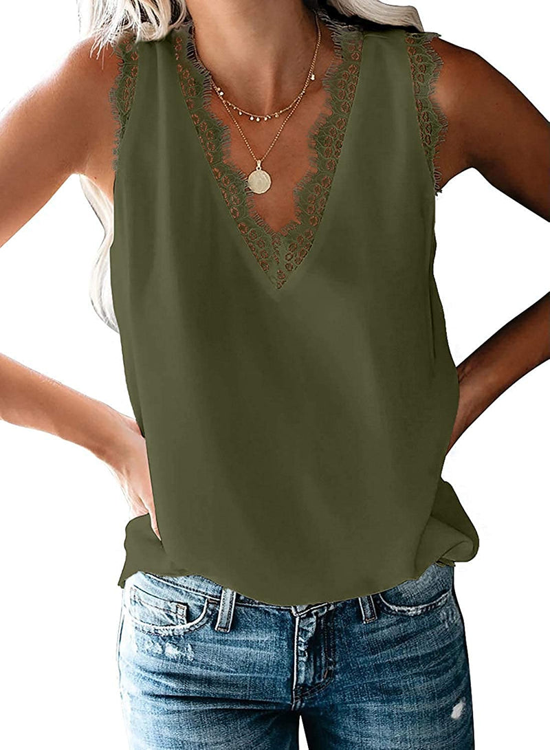 Uusollecy Women's V Neck Lace Trim Tank Tops Casual Loose Sleeveless Blouse Shirts