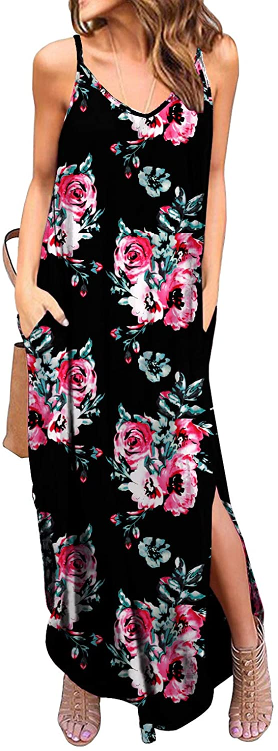 GRECERELLE Women's Summer Casual Loose Dress Beach Cover Up Long Cami Maxi Dresses with Pocket freeshipping - PuaGme