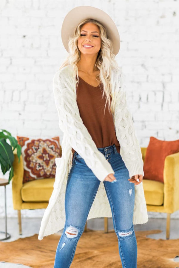 Winter White Textured Cable Knit Cardigan