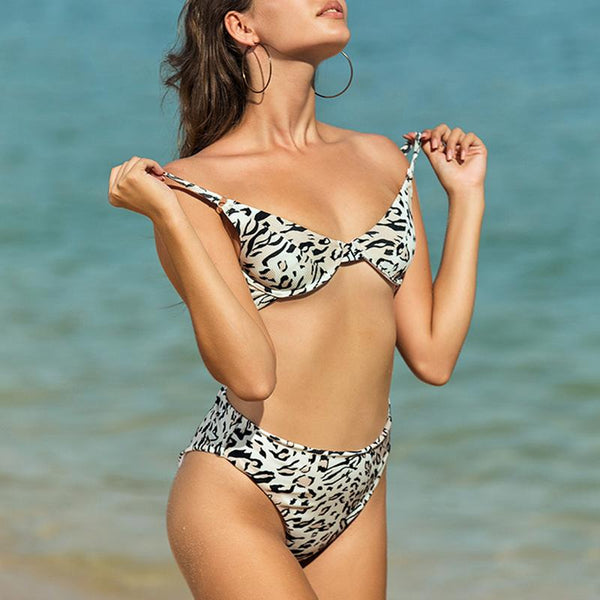 Underwire Push Up Woman Separate Two Piece Leopard Print Sexy Bikini