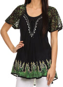 Sakkas Cora Relaxed Fit Batik Design Embroidery Cap Sleeves Blouse/Top