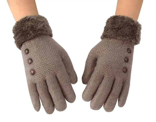 Classic Cable Knit Plush Fleece Lined Double Layer Winter Gloves freeshipping - PuaGme