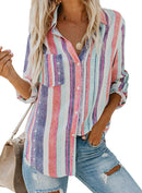 Astylish Women V Neck Striped Roll up Sleeve Button Down Blouses Tops freeshipping - PuaGme