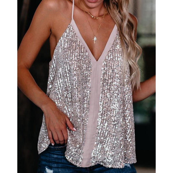 Women Camis V-neck Sequin Camisole Tank Tops