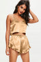 Apricot Sleep Tight Satin Camisole Shorts Pajamas Set freeshipping - PuaGme