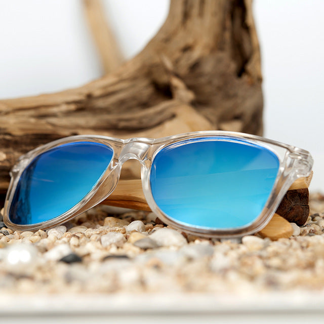 Clear Color Wood Bamboo Sunglasses