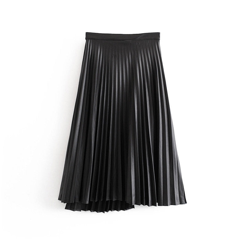 Black Faux Leather Pleated Skirt Streetwear freeshipping - PuaGme