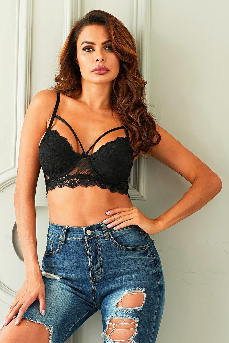 Black Strappy Lace Padded Bralette Top